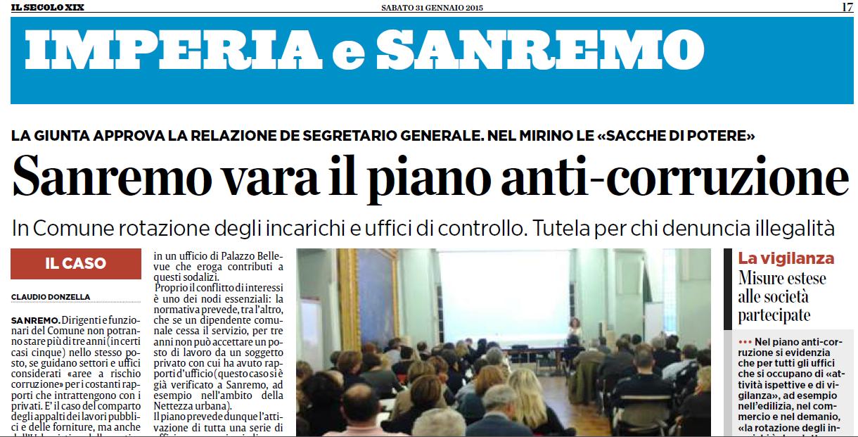 Sanremo: il piano anti-corruzione