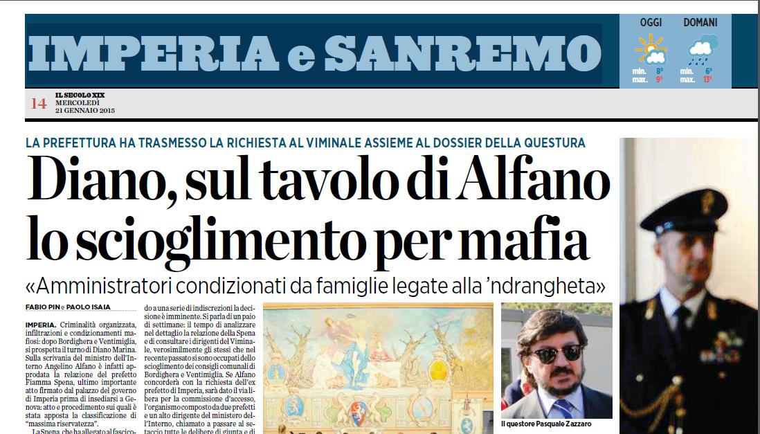 Diano Marina e lo scioglimento per Mafia