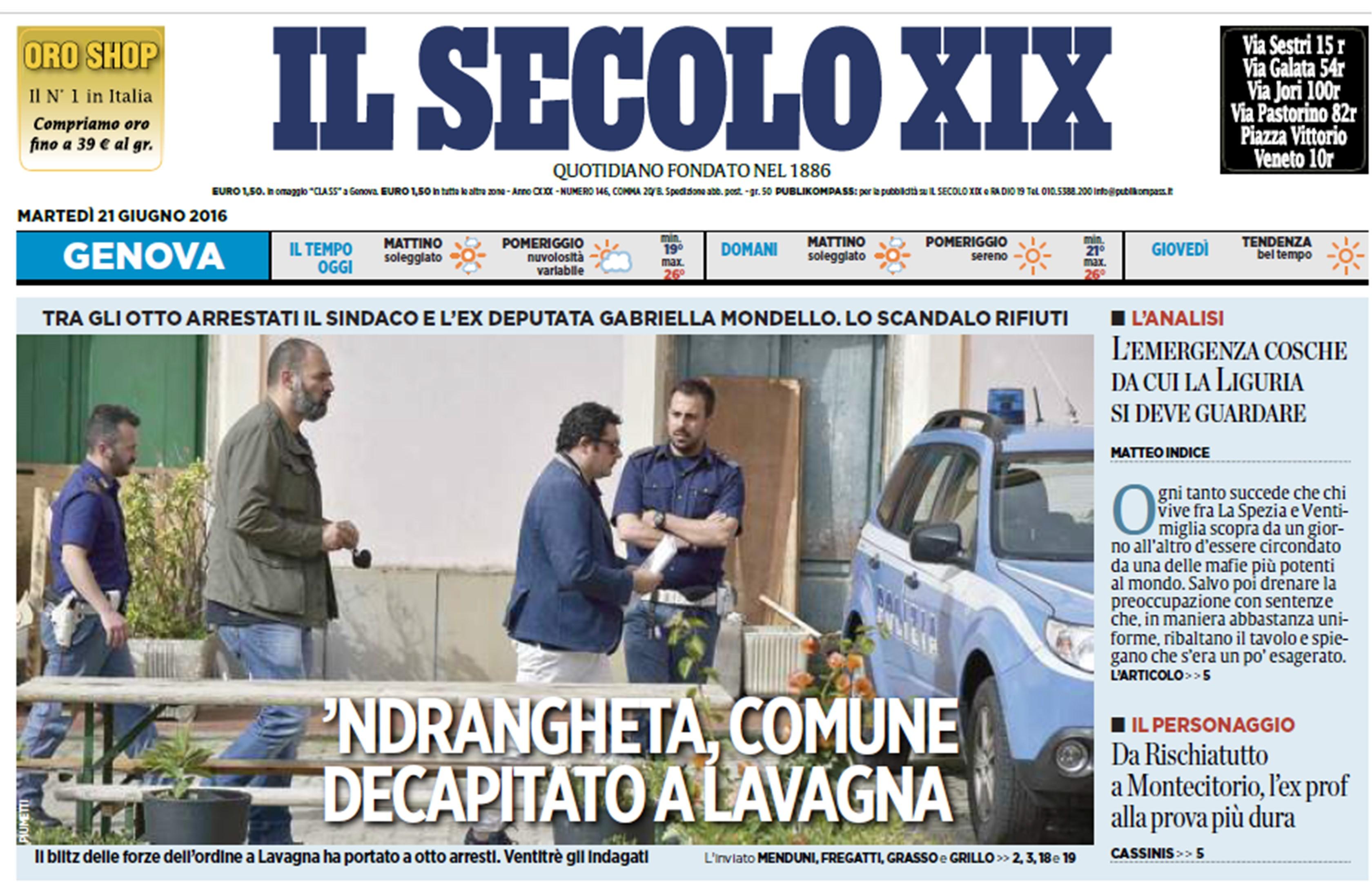 'ndrangheta a Lavagna: blitz decapita il comune