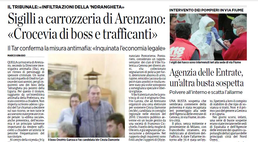 Arenzano, l'officina crocevia di boss e trafficanti