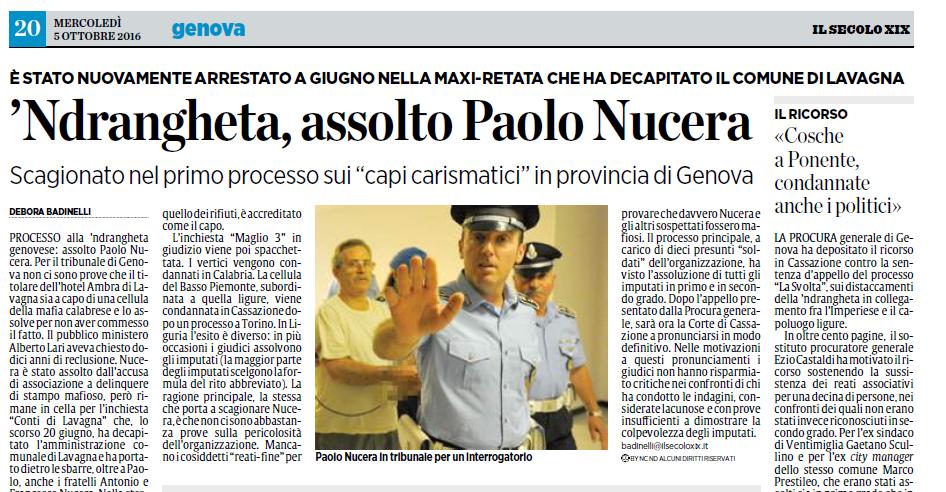 'ndrangheta, assolto Paolo Nucera