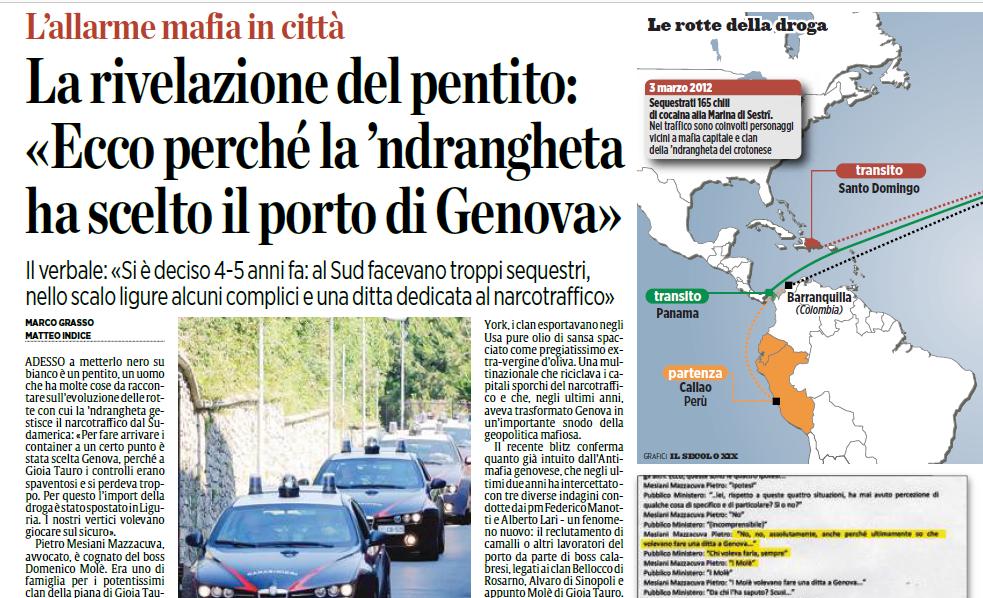La 'ndrangheta ha scelto Genova