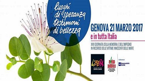 21 Marzo 2017, anche Genova ricorda le vittime innocenti delle mafie